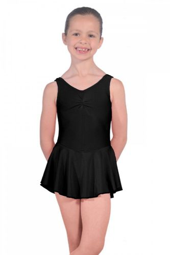 Roch Valley Sleeveless ISTD Junior Leotard with Skirt Nylon Lycra Black Dance